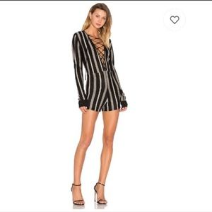 NBD Rea ecru stripe knit plunge lace up romper M